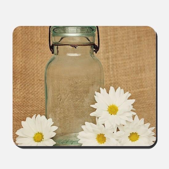 Vintage Mason Jar White Daisies Mousepad