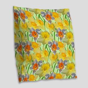 Daffy Daffodil Burlap Throw Pillow