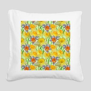 Daffy Daffodil Square Canvas Pillow