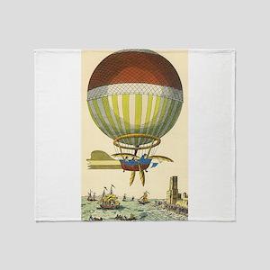 Vintage Hot Air Balloon Throw Blanket