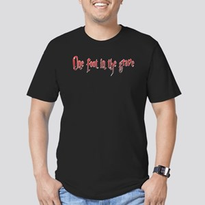 One foot in the grave Men's Fitted T-Shirt (dark)