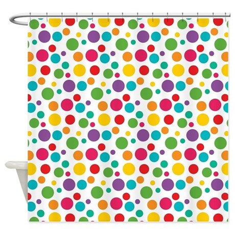 Cheerful Rainbow Polka Dots Shower Curtain by nature_tees