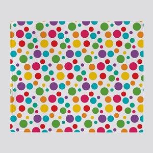 Cheerful Rainbow Polka Dots Throw Blanket