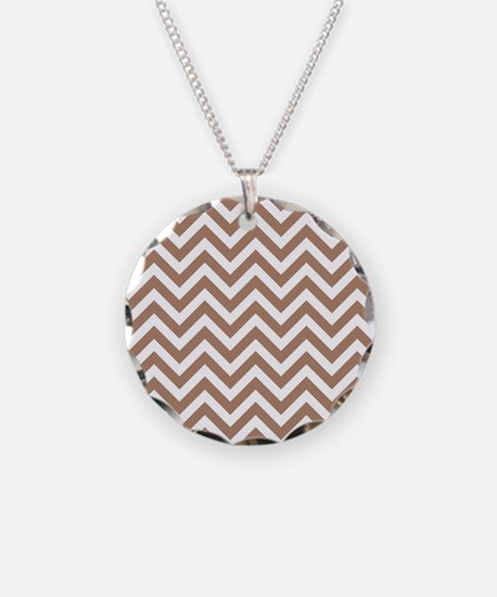 Brown and White Chevron Stripes Necklace
