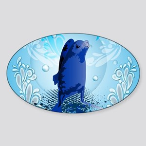 Cute walrus with decorative splash elements Sticke