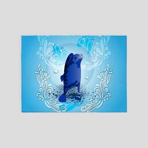 Cute walrus with decorative splash elements 5'x7'A
