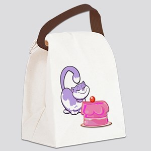 Purple Cake Cat Canvas Lunch Bag