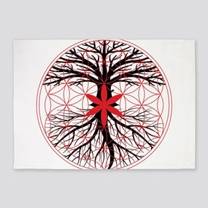 Tree of Life / Flower of Life 5'x7'Area Rug