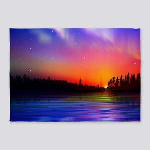 Sunrise Over The Water 5'x7'Area Rug