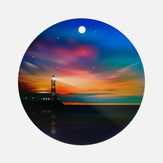 Sunrise Over The Sea And Lighthouse Ornament (Roun