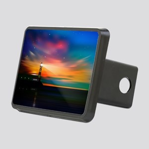 Sunrise Over The Sea And Lighthouse Hitch Cover