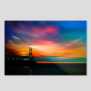 Sunrise Over The Sea And Lighthouse Postcards (Pac