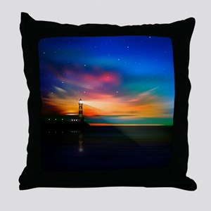 Sunrise Over The Sea And Lighthouse Throw Pillow