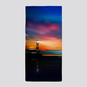 Sunrise Over The Sea And Lighthouse Beach Towel