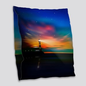 Sunrise Over The Sea And Lighthouse Burlap Throw P