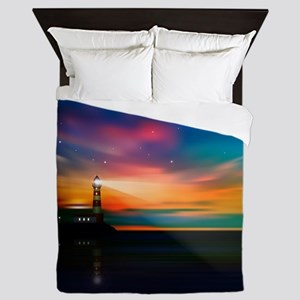Sunrise Over The Sea And Lighthouse Queen Duvet