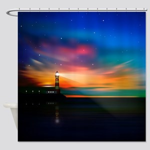 Sunrise Over The Sea And Lighthouse Shower Curtain