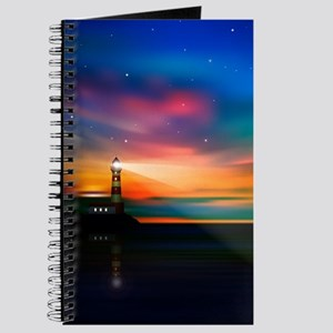 Sunrise Over The Sea And Lighthouse Journal
