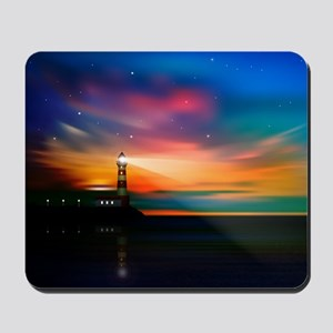 Sunrise Over The Sea And Lighthouse Mousepad