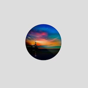 Sunrise Over The Sea And Lighthouse Mini Button