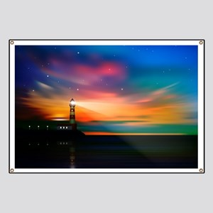 Sunrise Over The Sea And Lighthouse Banner