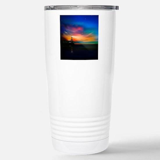 Sunrise Over The Sea And Lighthouse Travel Mug
