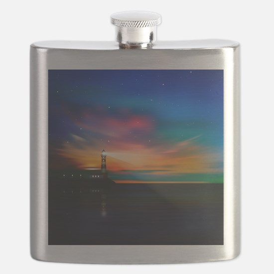 Sunrise Over The Sea And Lighthouse Flask