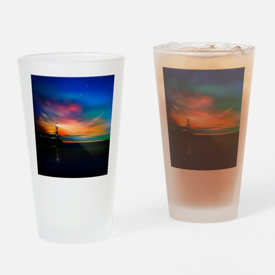 Sunrise Over The Sea And Lighthouse Drinking Glass