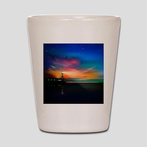 Sunrise Over The Sea And Lighthouse Shot Glass