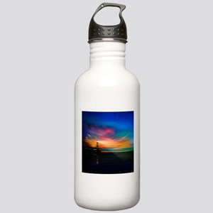 Sunrise Over The Sea And Lighthouse Water Bottle
