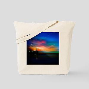 Sunrise Over The Sea And Lighthouse Tote Bag
