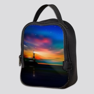 Sunrise Over The Sea And Lighthouse Neoprene Lunch