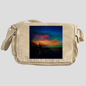 Sunrise Over The Sea And Lighthouse Messenger Bag