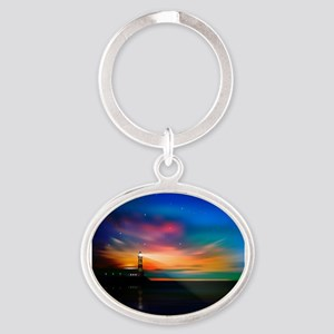 Sunrise Over The Sea And Lighthouse Keychains