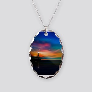 Sunrise Over The Sea And Lighthouse Necklace
