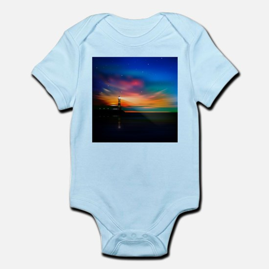 Sunrise Over The Sea And Lighthouse Body Suit