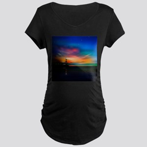 Sunrise Over The Sea And Lighthouse Maternity T-Sh
