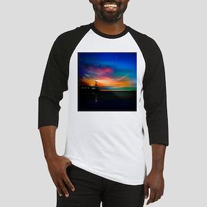 Sunrise Over The Sea And Lighthouse Baseball Jerse