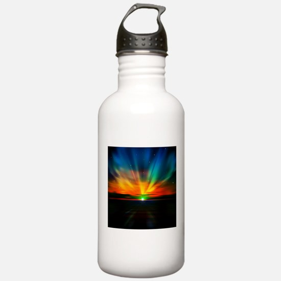Sunset Over The Water Water Bottle