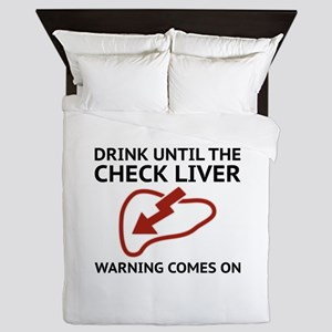 Check Liver Warning Queen Duvet