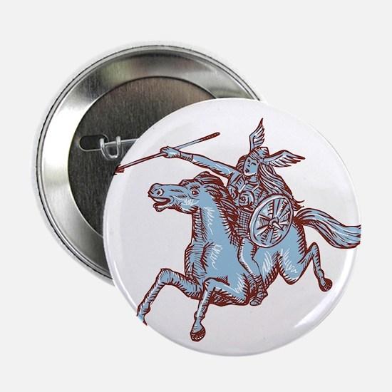 "Valkyrie Warrior Riding Horse Spear Etching 2.25"""
