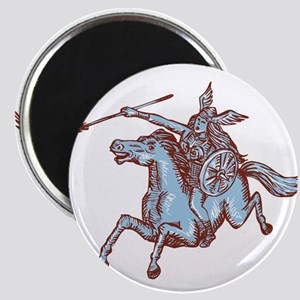 Valkyrie Warrior Riding Horse Spear Etching Magnet