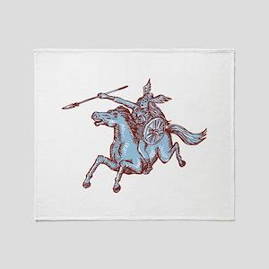 Valkyrie Warrior Riding Horse Spear Etching Throw