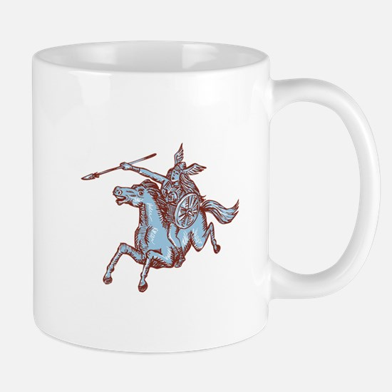 Valkyrie Warrior Riding Horse Spear Etching Mugs