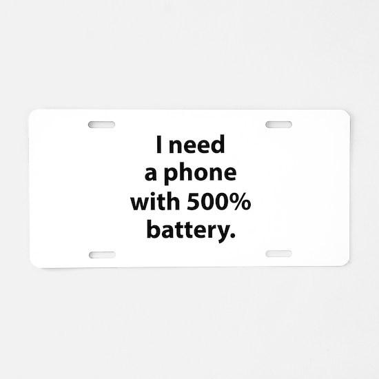 500 Percent Battery Aluminum License Plate
