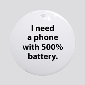 500 Percent Battery Ornament (Round)