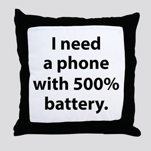 500 Percent Battery Throw Pillow