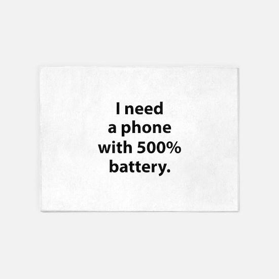 500 Percent Battery 5'x7'Area Rug