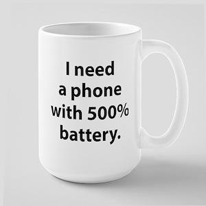500 Percent Battery Large Mug