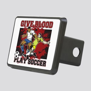 Give Blood Play Soccer Rectangular Hitch Cover